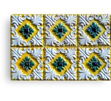 Raised white swirls and green flowers on Portuguese azulejos Canvas Print