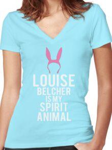 Louise Spirit Animal Women's Fitted V-Neck T-Shirt