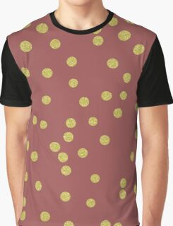 Scattered Gold round confetti pattern, Marsala background Graphic T-Shirt