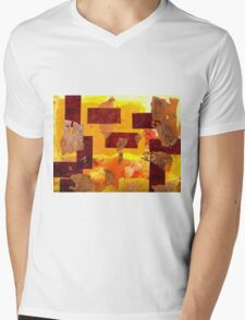 Copper Leaf Collage Mens V-Neck T-Shirt