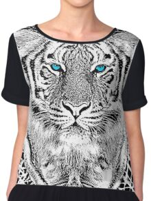Tiger Portrait Black and White in Graphic Etching Style Chiffon Top