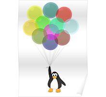 Penguin & Balloons Poster