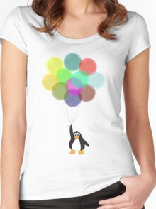 Penguin & Balloons Women's Fitted Scoop T-Shirt