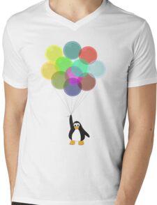 Penguin & Balloons Mens V-Neck T-Shirt