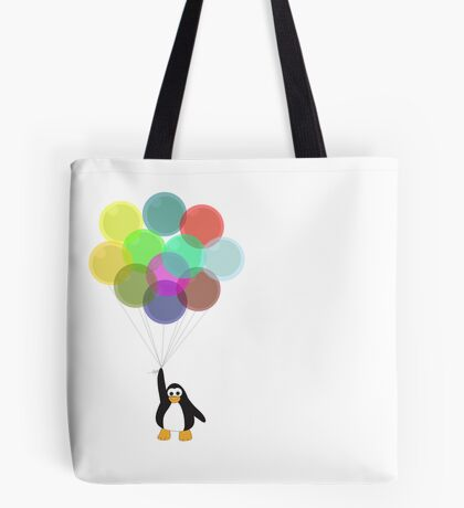 Penguin & Balloons Tote Bag