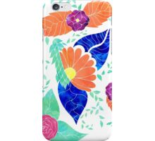 Modern coral blue purple floral pattern iPhone Case/Skin