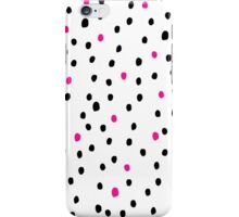 Modern neon pink black polka dots illustration iPhone Case/Skin