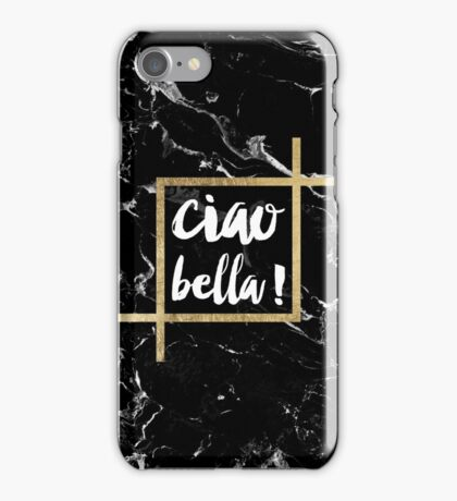 Stylish trendy typography gold leaf black marble iPhone Case/Skin