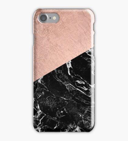 Chic modern rose gold black marble color block iPhone Case/Skin