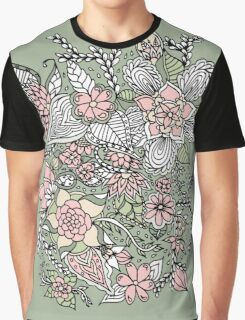 Modern floral pattern pink green hand drawn Graphic T-Shirt