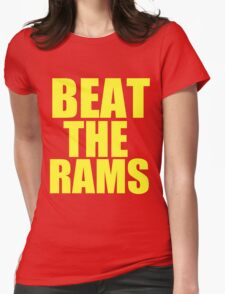 San Francisco 49ers - BEAT THE RAMS - Gold Text Womens Fitted T-Shirt