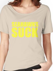 San Francisco 49ers - SEAHAWKS SUCK - Gold text Women's Relaxed Fit T-Shirt