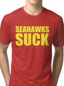 San Francisco 49ers - SEAHAWKS SUCK - Gold text Tri-blend T-Shirt