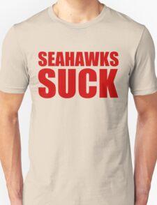 San Francisco 49ers - SEAHAWKS SUCK - Red Text Unisex T-Shirt