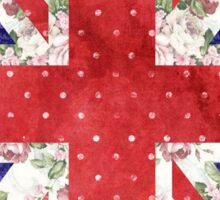 Vintage Red Polka Dots Floral UK Union Jack Flag Sticker