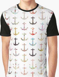 Vintage retro sailor girly floral nautical anchors Graphic T-Shirt