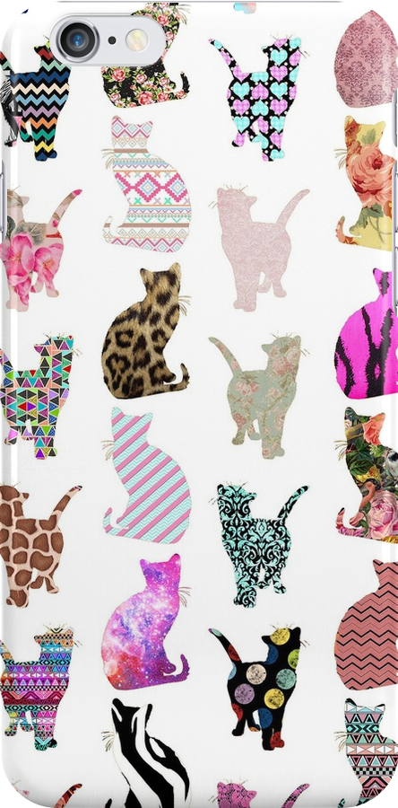 Girly Whimsical Cats aztec floral stripes pattern by GirlyTrend
