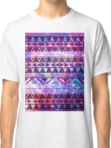Girly Andes Aztec Pattern Pink Teal Nebula Galaxy Classic T-Shirt