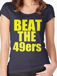 St Louis Rams - BEAT THE 49ers - Gold text Women's Fitted Scoop T-Shirt