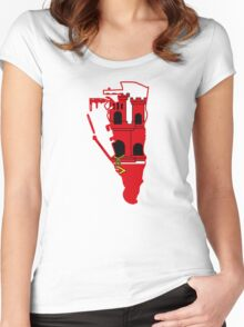 Flag Map of Gibraltar  Women's Fitted Scoop T-Shirt