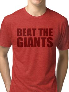 Washington Redskins - BEAT THE GIANTS - Red text Tri-blend T-Shirt
