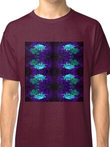 Blue on Blue flowers pattern Classic T-Shirt
