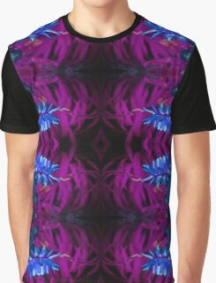 Blue Flowers on Red Graphic T-Shirt
