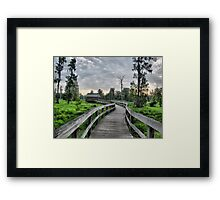 Gray and Green Framed Print