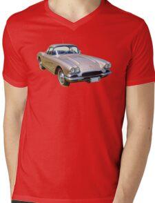 Silver1962 Chevrolet Corvette Sports Car Mens V-Neck T-Shirt