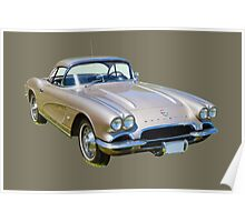 Silver1962 Chevrolet Corvette Sports Car Poster