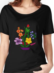 Cool Artistic Colorful Floral Abstract Art Women's Relaxed Fit T-Shirt