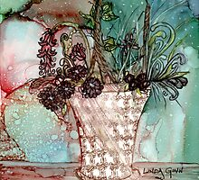 Basket of Flowers by Linda Ginn Art
