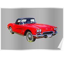 1962 Chevrolet Corvette Convertible Antique Car Poster