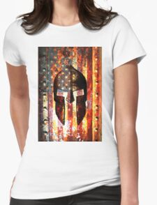 American Flag And Spartan Helmet On Rusted Metal Door - Molon Labe Womens Fitted T-Shirt
