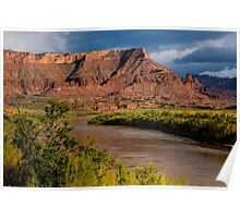 Fisher Towers and Colorado River near Sunset - Utah Poster