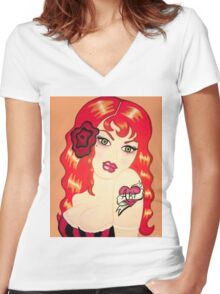 Vintage Redhead Tattoo Women's Fitted V-Neck T-Shirt