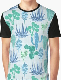Cactus Garden Blue and Green Graphic T-Shirt