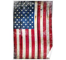 Distressed American Flag On Wood - Vertical Poster