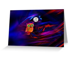 Neon Owl Thunderstorm Flash Greeting Card