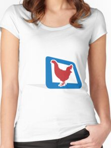chicken in frame Women's Fitted Scoop T-Shirt