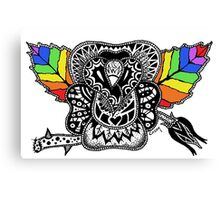 Rainbow Rose graffiti love wins Canvas Print