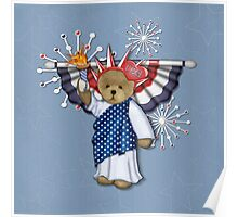 Patriotic Liberty Bear on Blue Poster