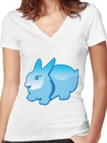 Cartoon Rabbit Women's Fitted V-Neck T-Shirt