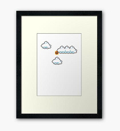 Partly Cloudy in Mushroom Kingdom Framed Print