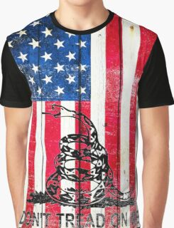 Viper On American Flag On Old Wood Planks Vertical Graphic T-Shirt
