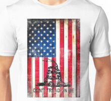 Viper On American Flag On Old Wood Planks Vertical Unisex T-Shirt