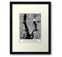 Map of Manhattan Print - Black Framed Print