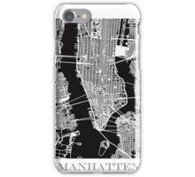 Map of Manhattan Print - Black iPhone Case/Skin