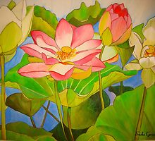 Waterlily lotus watercolour art by grosselart