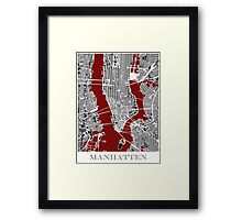 Map of Manhattan - Red  Framed Print